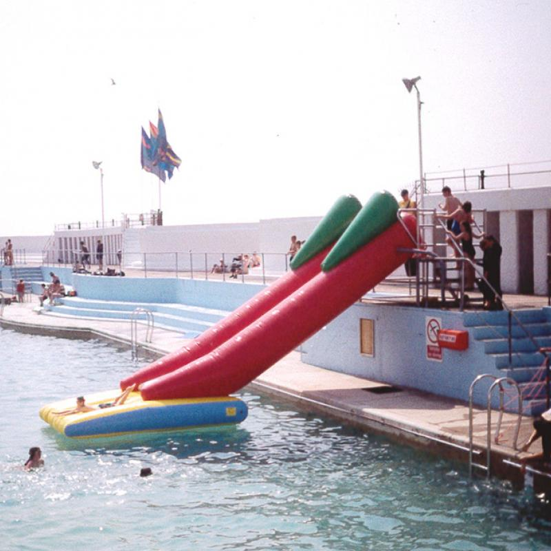 Inflatable water shute at Jubilee Pool