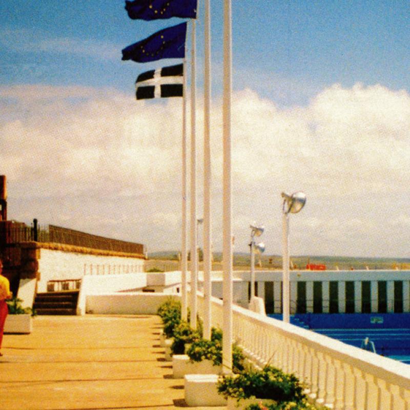 Jubilee Pool lifeguard on the terrace