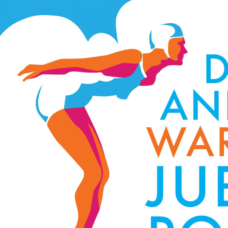 Graphic of female diver with text 'Dive in and help warm up Jubilee Pool'