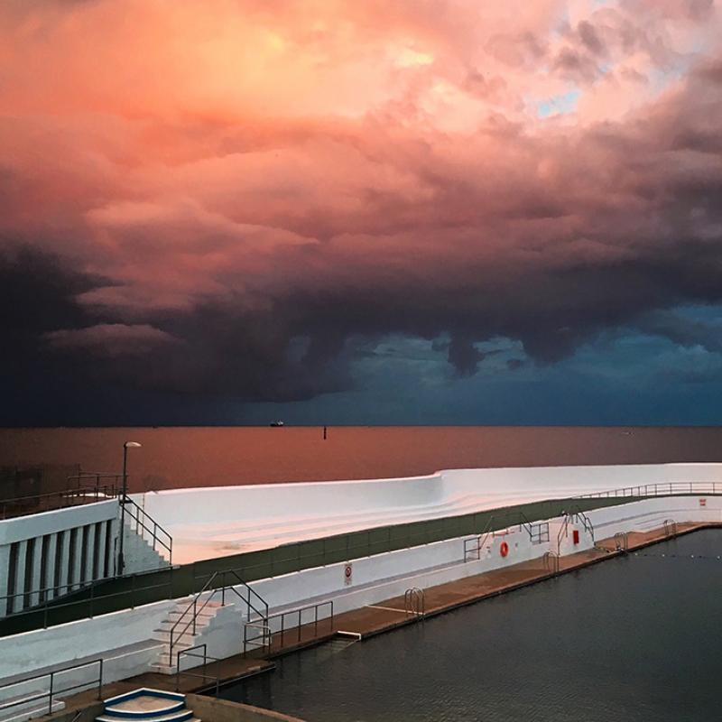Red skies above the Jubilee Pool