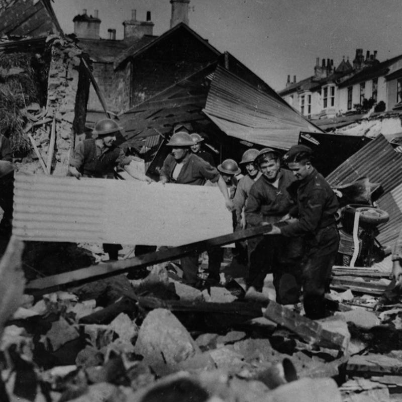 Airwardens clear bomb damaged houses, Penzance