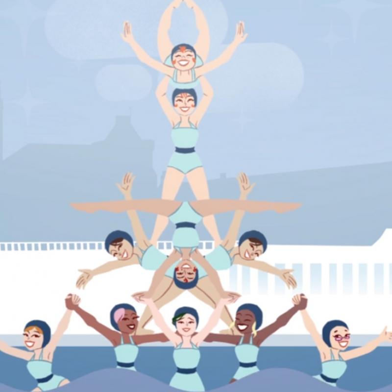 Cartoon synchronised swimmers