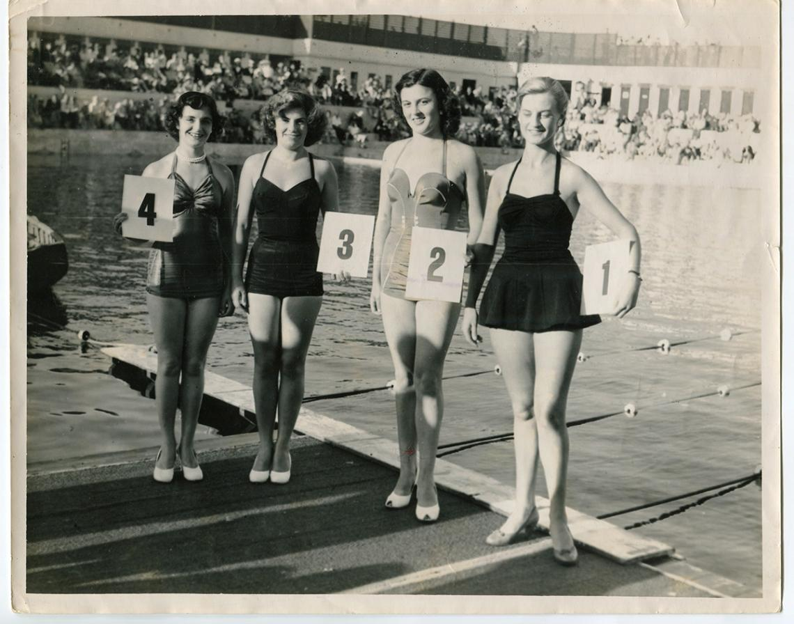 Traditional women's beauty parade, poolside