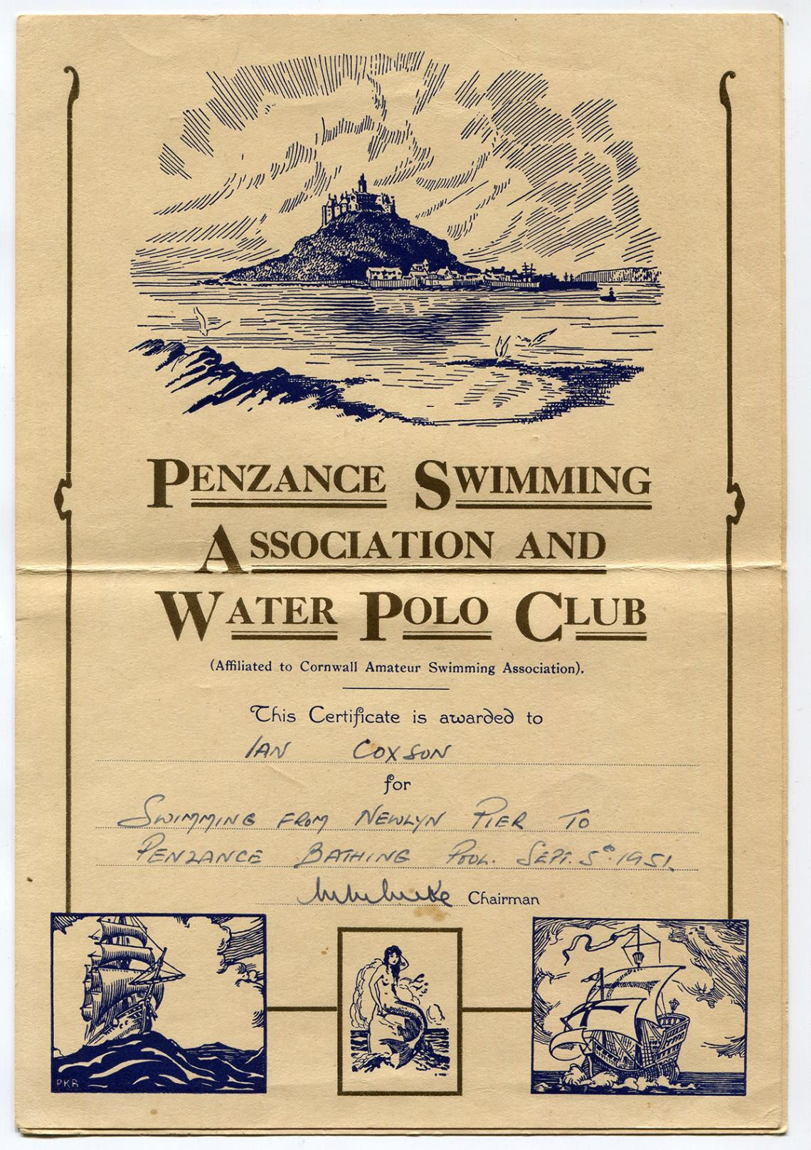 Certificate for the long distance swim