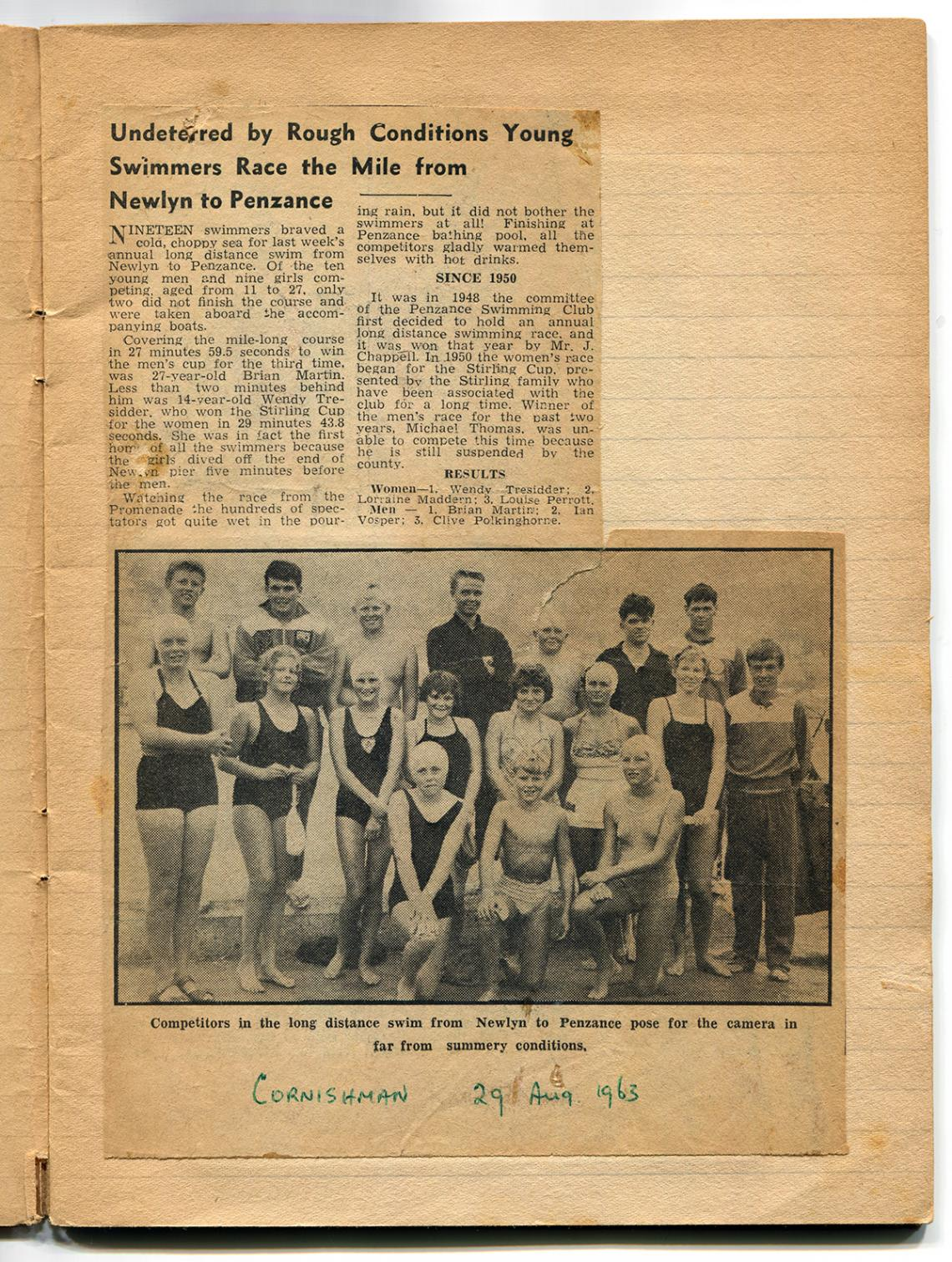 Newspaper cutting, the long distance swim