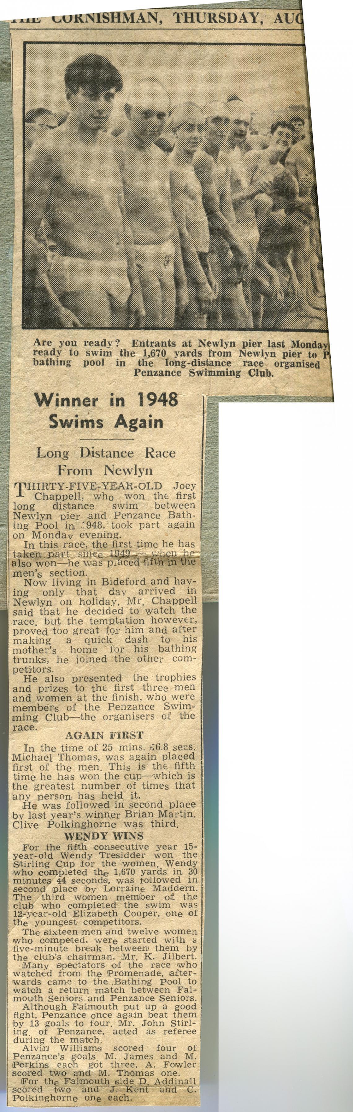 The Cornishman - Winner in 1948 Swims Again