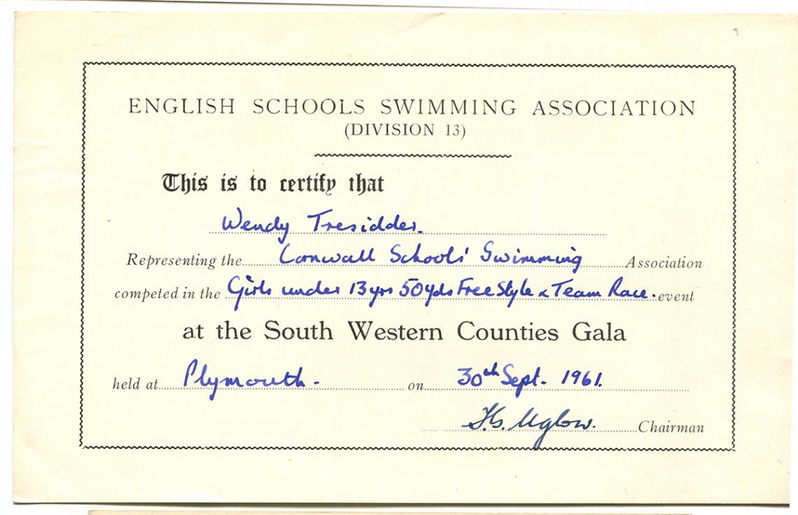 English Schools Swimming Association certificate