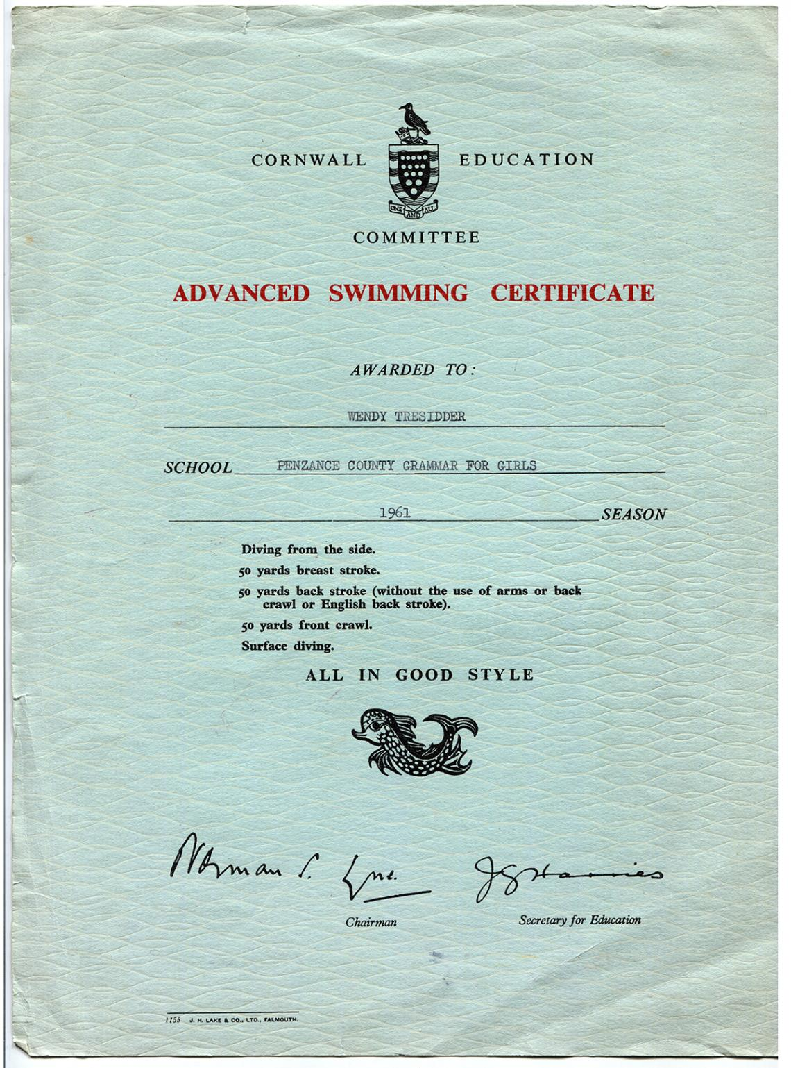 Advanced swimming certificate