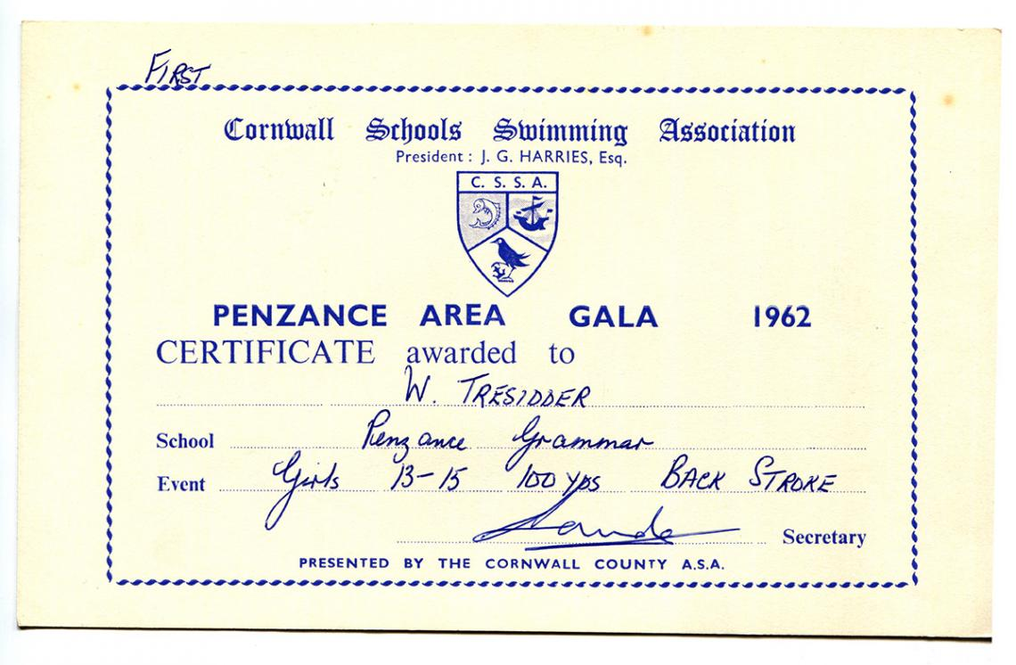 Cornwall Schools Swimming Association certificate