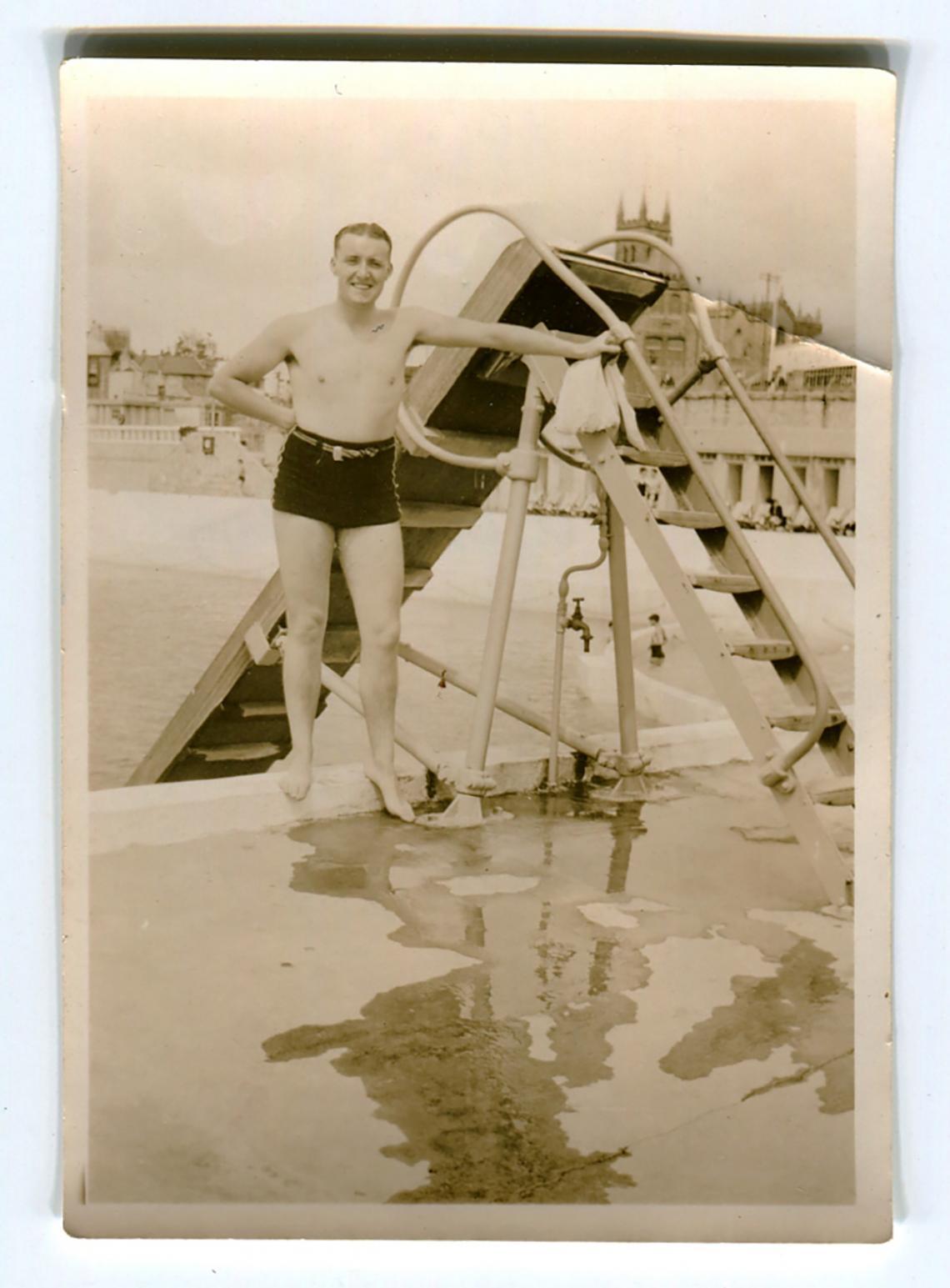 Bert Perrott by the water chute