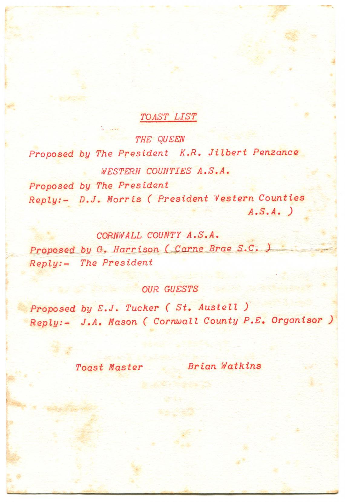 Toast list, Swimming Association annual dinner