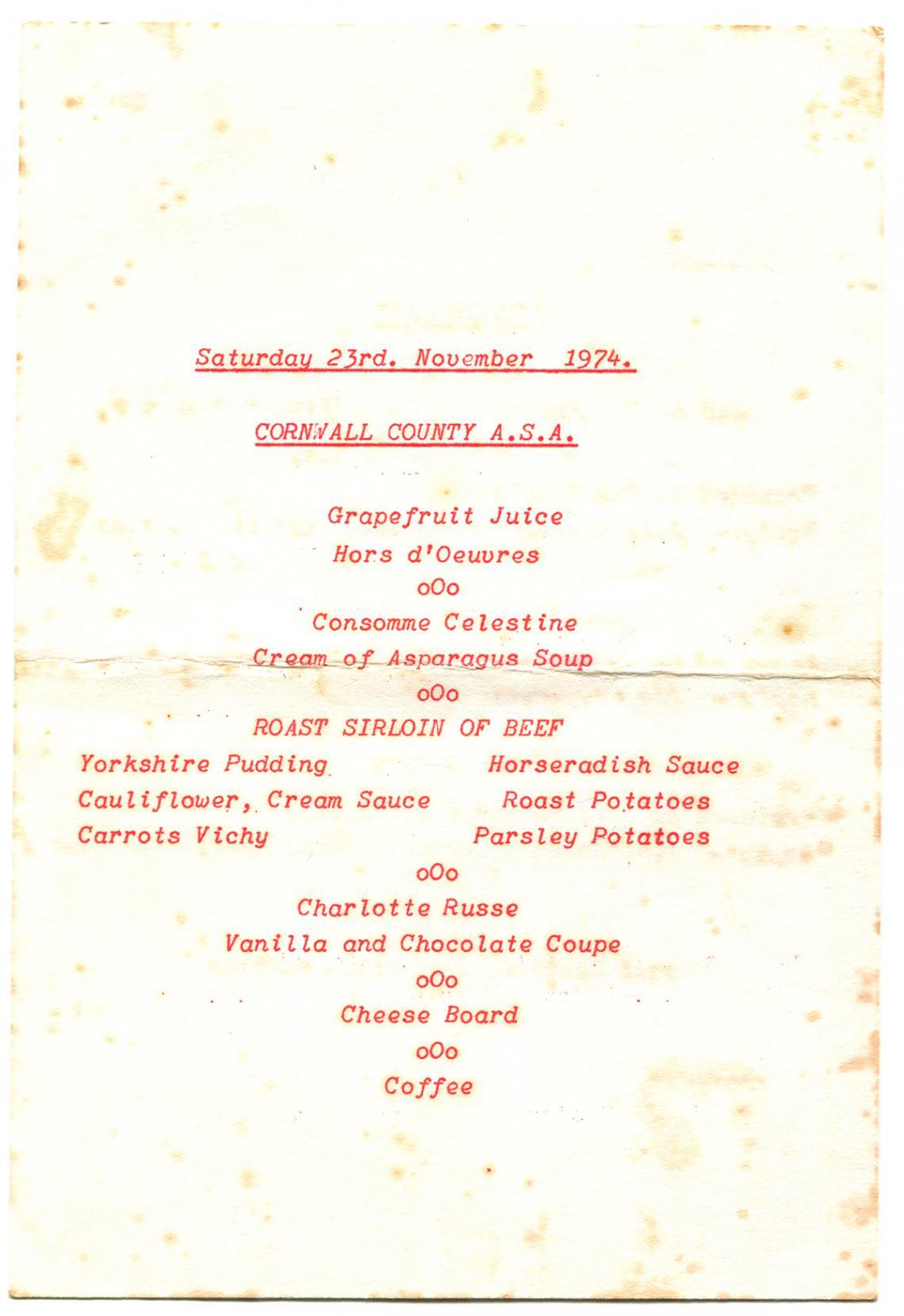 Menu, Swimming Association annual dinner (reverse)