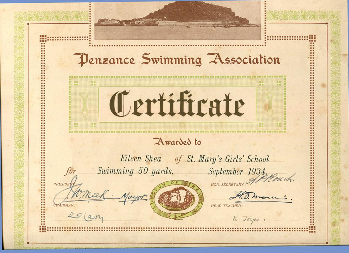 50 yards swimming certificate from 1934