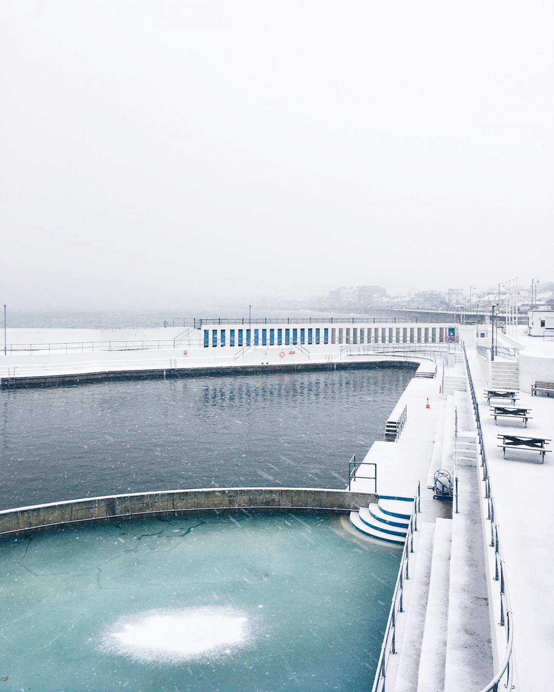 Snow and ice at the pool