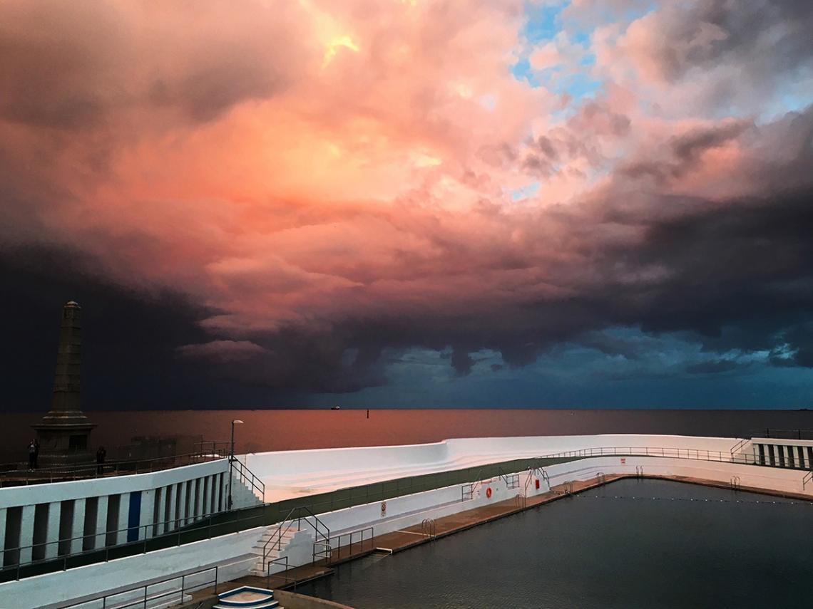 Red skies above the Jubilee Pool