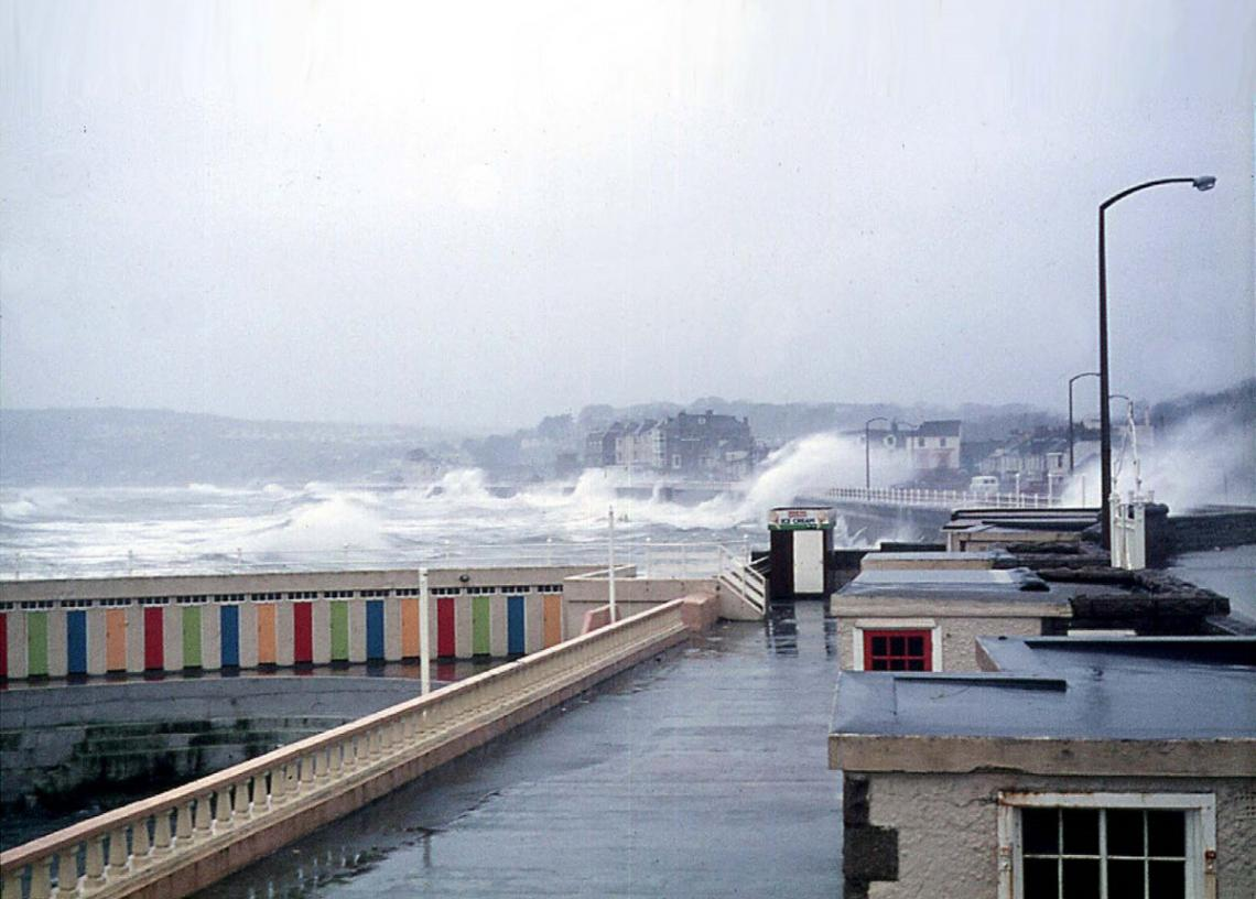 Promenade during storm, Jubilee Pool walls visible (3 of 4)