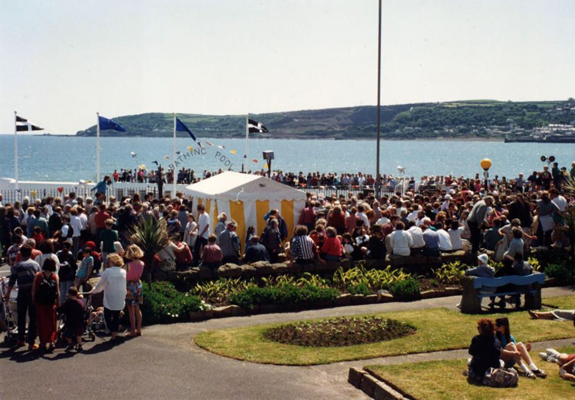 Crowds at the 'Grand Re-opening' of the pool in 1994