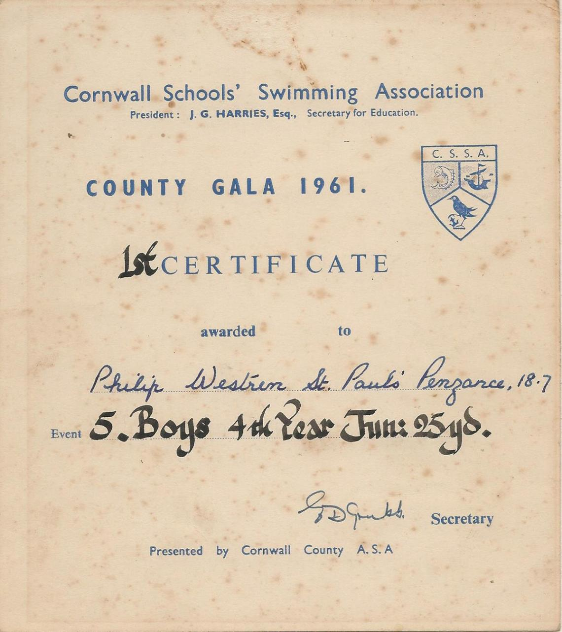 Phil Westren County swimming certificate 1961
