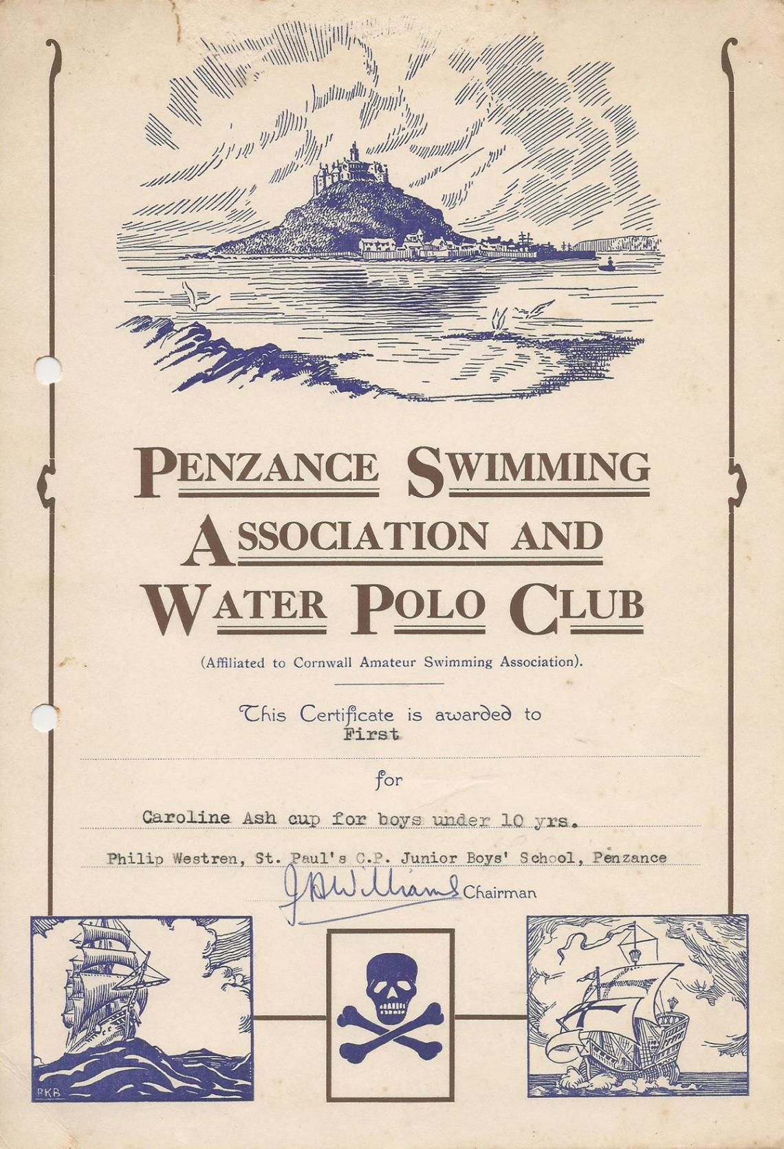 Phil Westren swimming certificate 1961