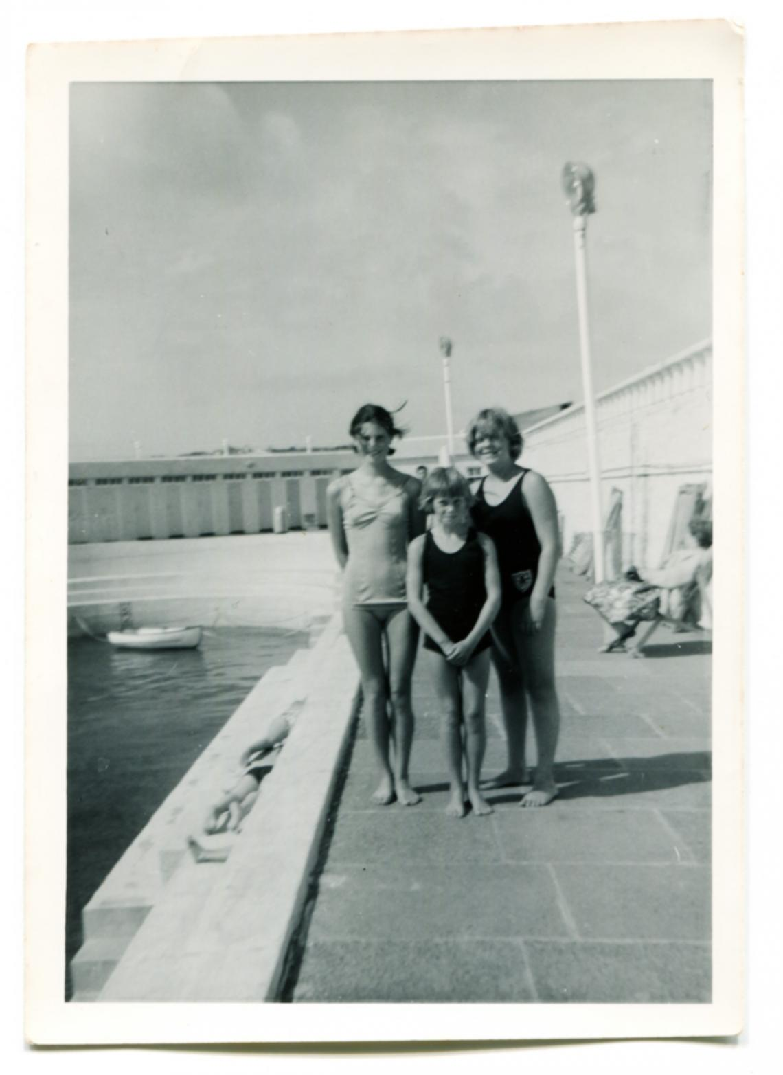 Ruth Trevenen, Judith Tresidder and a younger girl, Liz Jilbert, at Jubilee Pool