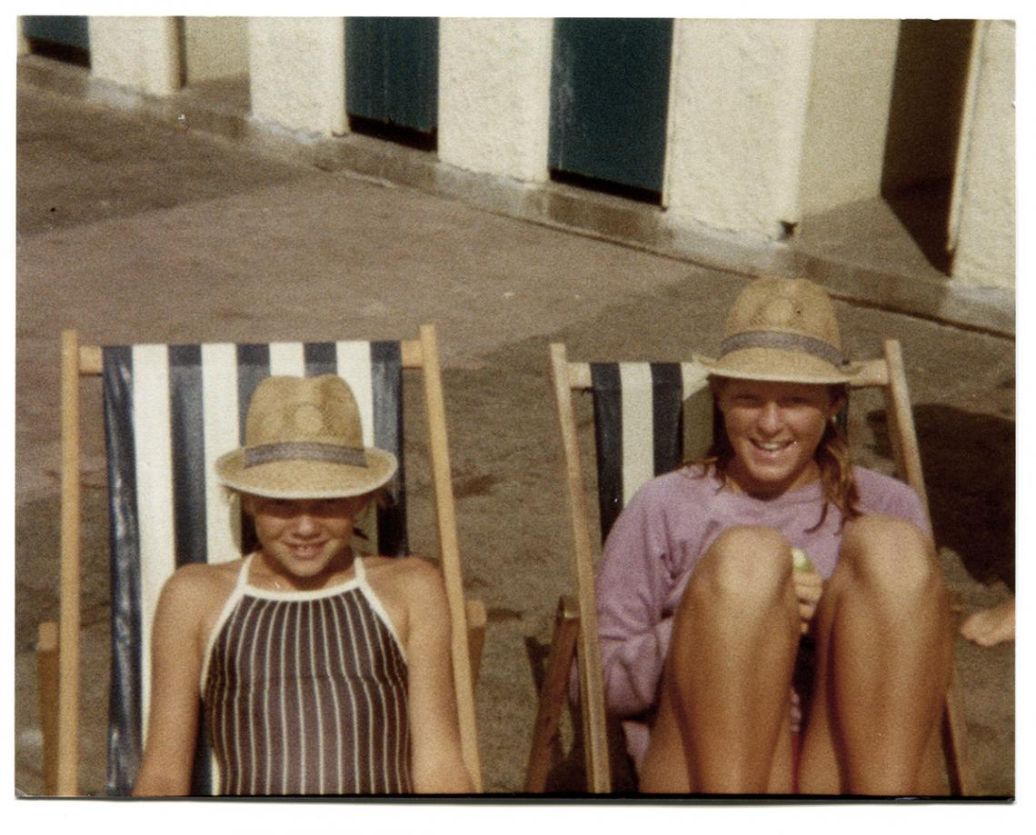 Two girls on deckchairs