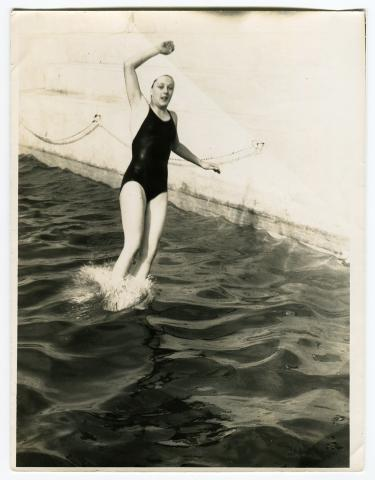 Phyllis Beare jumping in