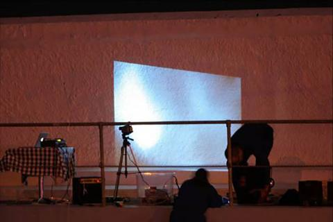 Live art at the pool - projections