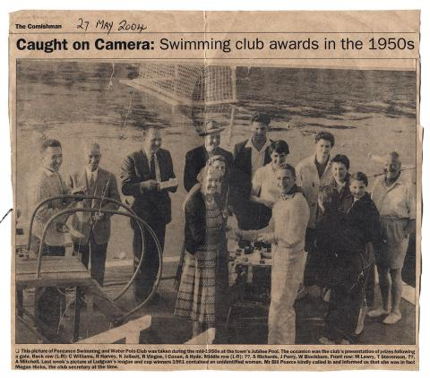 Caught on camera - swimming club awards in the 1950s