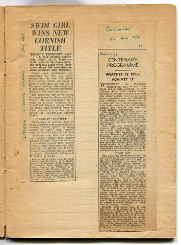 Newspaper cutting, swimming and water polo success