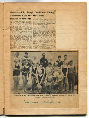 Newspaper cutting, the long distance swim