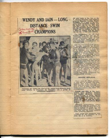 Newspaper cutting, long distance swim champions Wendy and Iain