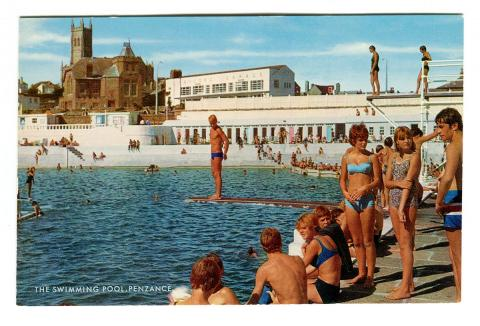 Postcard of the pool featuring diving boards