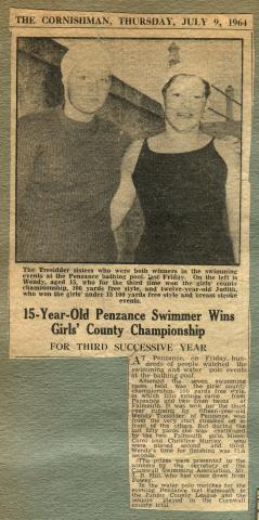 The Cornishman - 15-year old Penzance swimmer wins girls' county championship