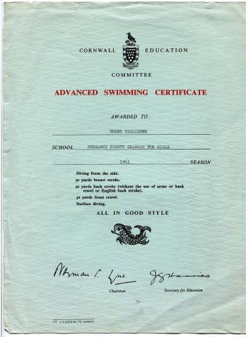 Advanced swimming certificate
