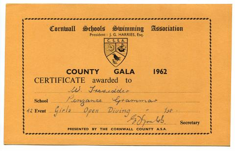 County gala diving certificate