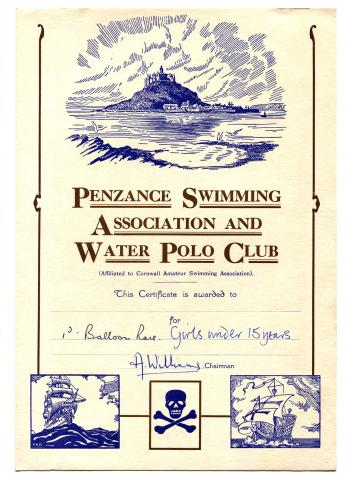 Penzance swimming association and water polo club certificate