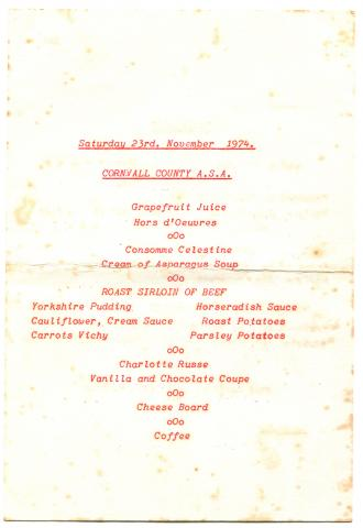 Menu, Swimming Association annual dinner (reverse)