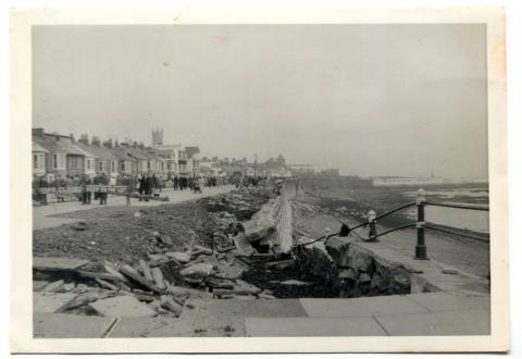 Storm damage, Penzance promenade, 1962
