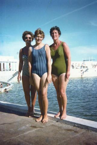 Committee members at the pool from left: Mrs Crowe, Mrs Marsden, Eileen Jilbert