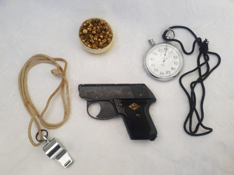 Ken Jilbert starting gun, caps, whistle, Eileen Jilbert stop watch