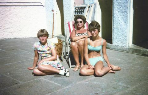 At Jubilee Pool 1960s from left Liz Nicholls, Mrs. Crowe and Leone Crowe