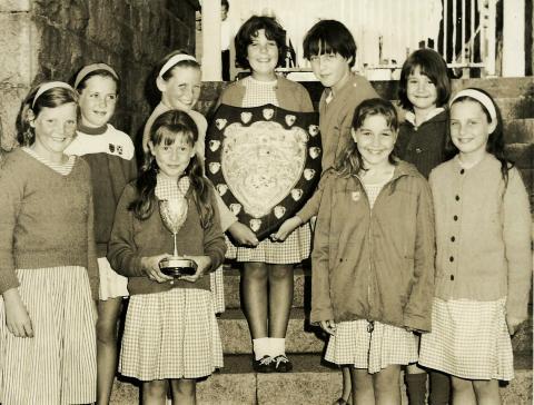 Liz Jilbert (left from centre) St. Marys C of E school swimming junior inter school championships
