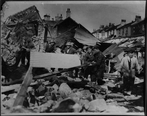 Airwardens clear bomb damaged houses, Penzance