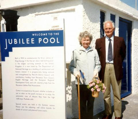 John Clarke and his wife: Jubilee Pool - saved!