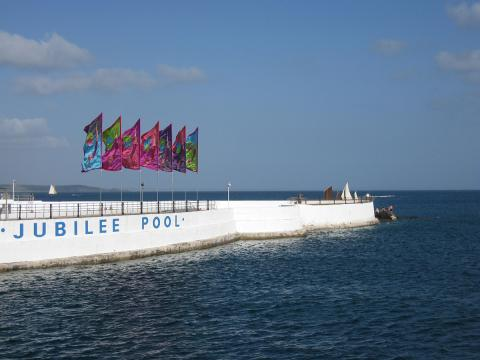 Lucy Birbeck's flags for Jubilee Pool