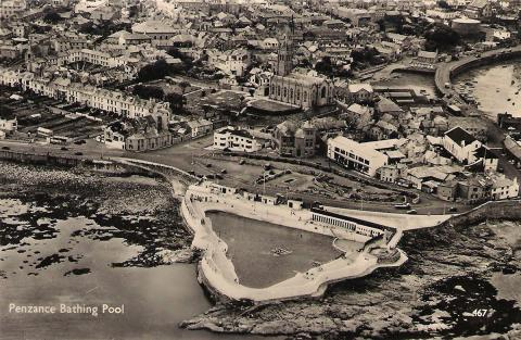 Aerial view entitled 'Penzance Bathing Pool'