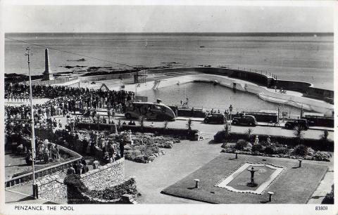 Aerial view of Jubilee Pool on its opening day in 1935