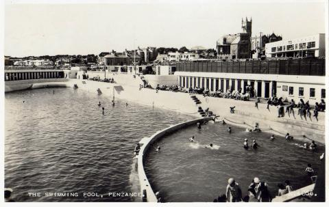 View of the Jubilee Pool with swimmers and subathers