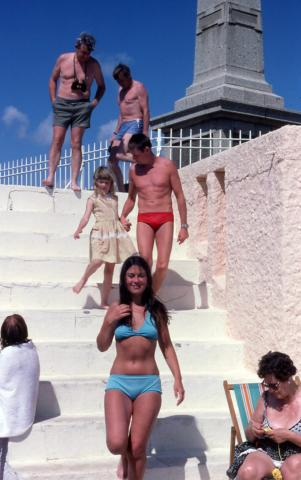 Bathers on Jubilee Pool steps
