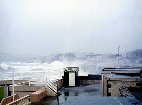 Promenade during a storm, Jubilee Pool walls visible (2 of 4)